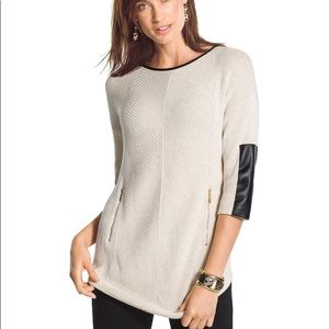 Chico's Estelle Faux-Leather Sleeve Sweater